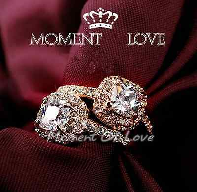 $7.98 • Buy 18KGP Gold Rose Gold White Gold Solitaire CZ Engagement Ring Wedding Band