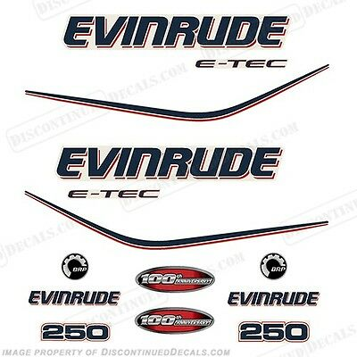 $99.99 • Buy Evinrude 250hp E-Tec 100th Anniversary Outboard Decals - 2010 Engine Stickers