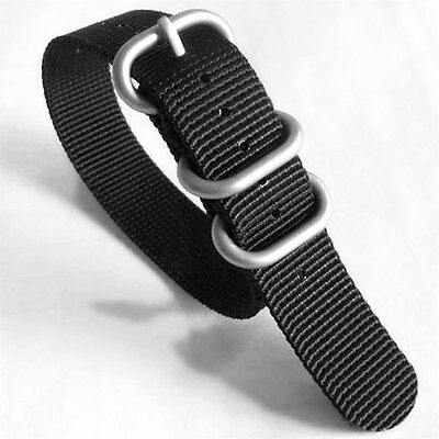 $9.95 • Buy 3-Ring Black Watch Strap, Military-Style Nylon Band With Matte Finish Buckle