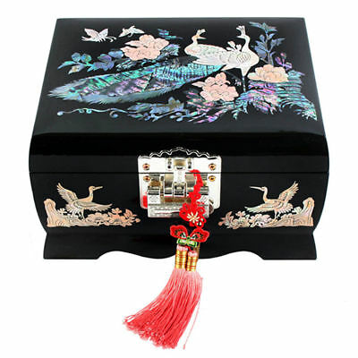 $79.95 • Buy Mother Of Pearl Inlay Black Lacquer Wooden Jewelry Necklace Music Chest Box Case