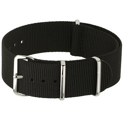 $4.95 • Buy Black Nylon Watch Strap, Military-Style Nylon Band, Steel Buckle And Keepers