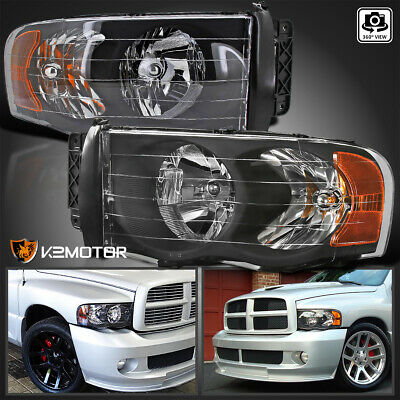 $65.91 • Buy For 2002-2005 Dodge Ram 1500 2003-2005 Ram 2500 3500 Black Headlights Left+Right