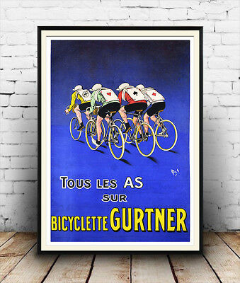 Bicyclette Gurtner , Vintage Cycling  Poster Reproduction. • 10.99£