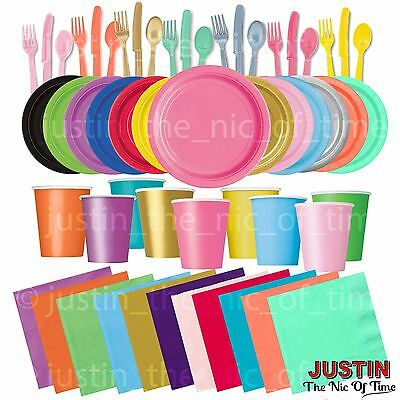 £3.49 • Buy Plain Disposable Solid Colours Party TABLEWARE Events Catering Wedding Birthday
