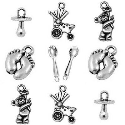 Baby Theme Mixed Charms Dummy Feet Bear Pin Tibetan Silver Pack Of 20 • 2.60£