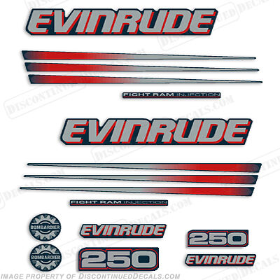 $98.95 • Buy Evinrude 250hp Bombardier Outboard Decal Kit - Blue Cowl Engine 2002-2006