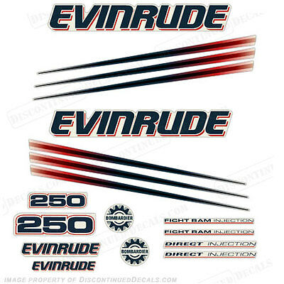 $98.95 • Buy Evinrude 250hp Bombardier Outboard Decal Kit - 2002-2006 Engine Stickers