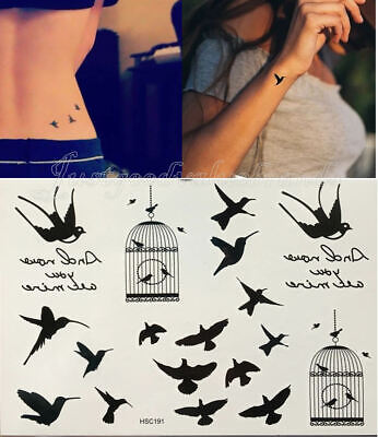 £2.50 • Buy Silhouette Swift Swallow Hummingbird Bird In The Cage Freedom Temporary Tattoo