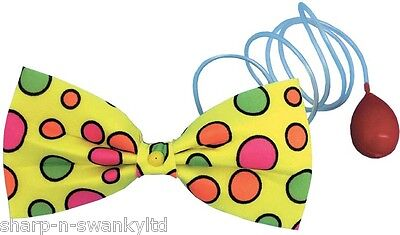 £7.99 • Buy Ladies Mens Large Spotty Water Squirt Bow Tie Clown Circus Fancy Dress Costume