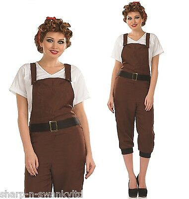 Ladies 1940s WW2 Brown Land Girl Army Fancy Dress Costume Outfit 8-22 Plus Size • 22.99£