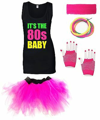 IT'S THE 80s BABY Ladies Vest Outfit Fancy Dress Costume Neon Tutu 80's Gloves • 18.27£