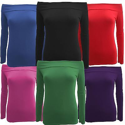 £4.99 • Buy New Womens Plus Size Full Sleeve Off Shoulder Jersey Tops 8-22