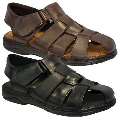 Mens Leather Walking Touch Strap Summer Beach Mules Gladiator Sandals Shoes Size • 14.99£