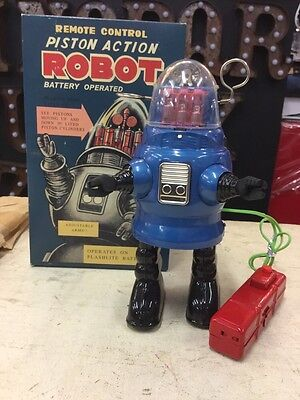 AU145 • Buy Tin Toy Space Piston Robot Robby B9 Lost In Space Blue Robot Box