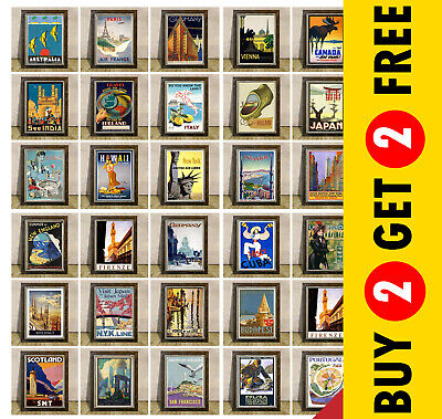VINTAGE TRAVEL POSTERS * Great Countries Cities Wall Art Print * A3 Or A4 Size  • 3.49£
