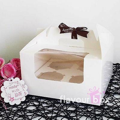 AU12 • Buy 6x Clear Window 4 Holes Cupcake Box - Fit 4 Cupcakes - Cake Muffin Carrier Boxes