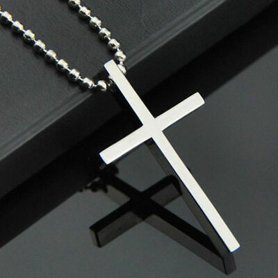 $7.99 • Buy Simple Stainless Steel Silver Tone Cross Pendant Chain Necklace For Men Women
