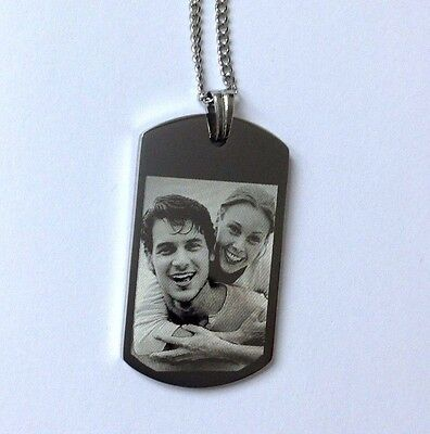 Personalised Photo/Text Engraved ID Pendant ID Tag Dog Tag Length 22 Inches • 12.95£