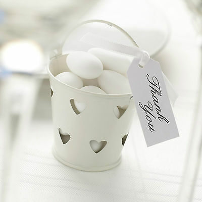 £6.95 • Buy 5 IVORY HEART TIN FAVOUR PAILS Buckets Sugared Almonds Sweets T Lights Chocs