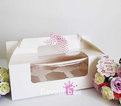 AU8 • Buy 4x White 6-holes Cupcake Boxes With Handle + Clear Window + Ribbon