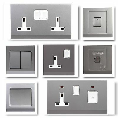 £6.99 • Buy Simplicity Screwless Grey Silver Plastic Light Switches Plug Sockets Cooker Fuse