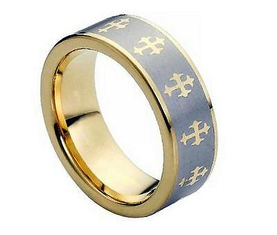 $15.99 • Buy 8MM Tungsten Carbide Mens Womens Gold Plated Celtic Cross Comfort Fit Band Ring