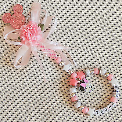Personalised Beautiful Minnie Mouse Baby Pink Pram Charm For Girls Ideal Gift • 5.99£