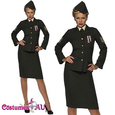 Ladies Retro 40s Army Wartime Officer Costume Ww2 1940s Military Fancy Dress • 23.95£