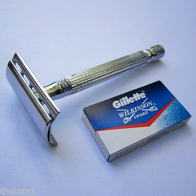AU13.55 • Buy Double Edge DE Safety Razor +5 Gillette Blades - Mens Shave Shaver