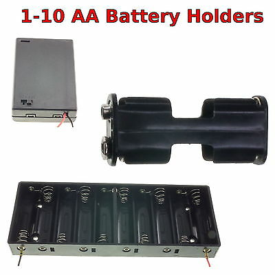 £2.75 • Buy 1-10 AA Battery Holder Box With Switch/ PP3 Clip/ Wire/ Solder Tags/ JR Lead