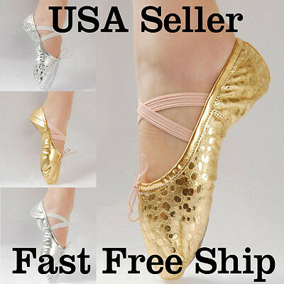 $9.99 • Buy New Women Girl Gold/Silver Ballet Pointe Gymnastics Sequins Leather Dance Shoes