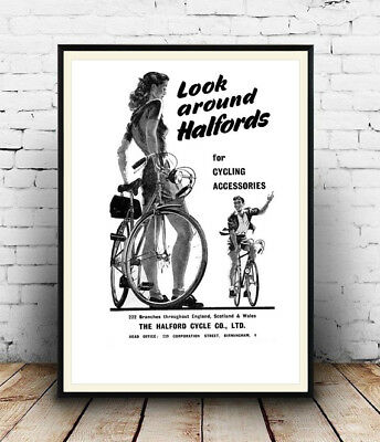 Look Around Halfords ,  Vintage Cycle Advert Poster Reproduction. • 3.99£