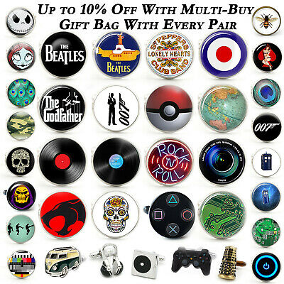 £3.99 • Buy Novelty Cufflinks Movie Film Gaming Music Fun Hobby TV Glass Wedding + Gift Bag