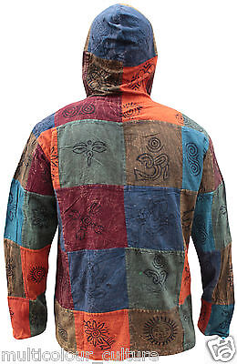 Mens Collerless  Long Sleeves Tops Festival Patchwork Grandad Hoody Hippy Shirt  • 21.99£