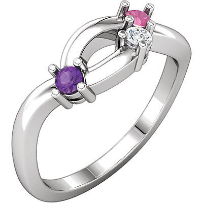 $75 • Buy Mother's Day Jewelry Sterling SILVER Mother's Birthstone Ring 1-6 Stones
