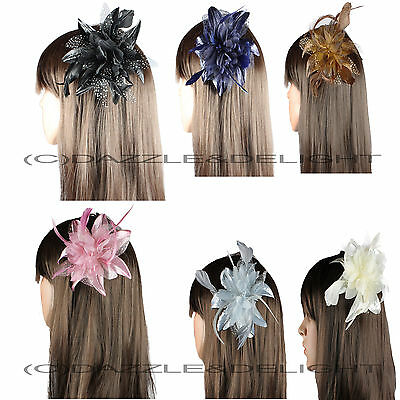 Fascinator Flower Net Feather On Clear Comb Weddings Races Prom Hair Fascinator • 3.87£