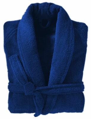 100% Cotton Dressing Gown Terry Towelling Shawl Collar Bath Robe Royal Blue • 19.99£