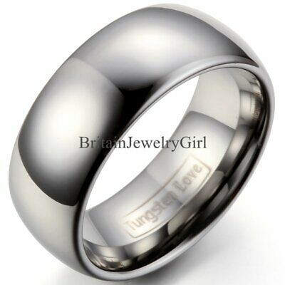 $11.39 • Buy 9mm High Polish Comfort Fit Classic Dome Mens Tungsten Carbide Ring Wedding Band
