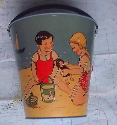 C1950  Tinplate Seaside Sand Pail Bucket Made In Germany Children Pond Yachts • 100£