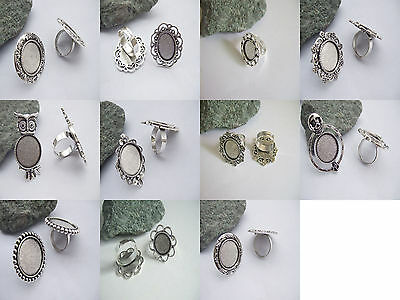 £2.99 • Buy 4 X Tibetan Silver Ring Trays Round/Oval Base Blank Setting Cameo Cabochon