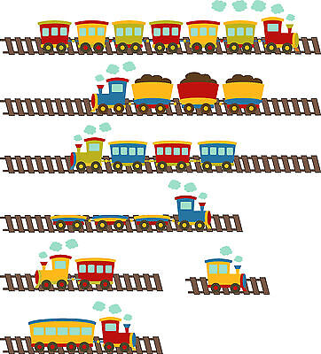 Cartoon Train Children's Room Wall Art Stickers Vinyl Decals Home Kids • 15.61£