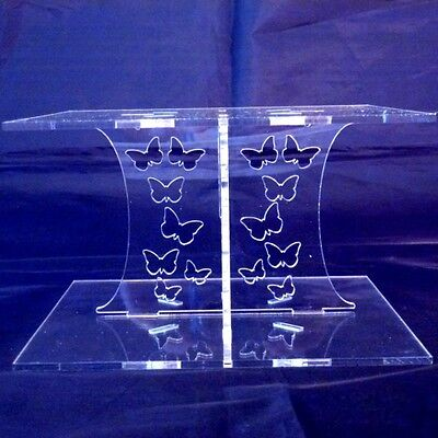 £13.99 • Buy Clear Acrylic Square Butterfly Wedding & Party Cake Stand 15cm & 19cm Bases