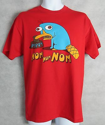 $8.09 • Buy Disney Phineas And Ferb Mens T-Shirt New Red Perry Platypus Nom Nom Nom