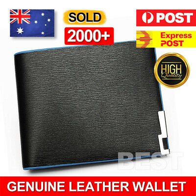 AU9.95 • Buy Black Mens Slim Card Holder Bifold GENUINE Leather Wallet Purse Stylish Short