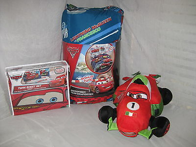 New Disney Pixar Cars 1 & 2 Twin Comforter Tote Sheet Set Francesco Pillow 6 Pc • 153.83£