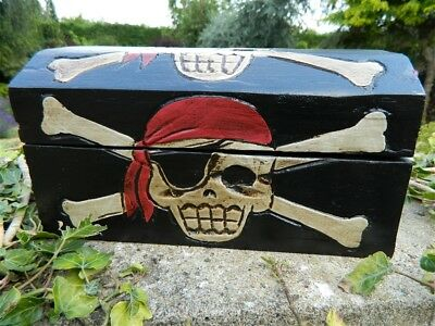 Pirate Chest Treasure Chest Wooden Storage Box - Pencil Case Trinket Box Black • 12.95£