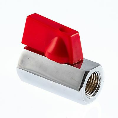 1/4  Plated Brass Mini Ball Valve With Alloy (Not Plastic) Lever • 3.95£