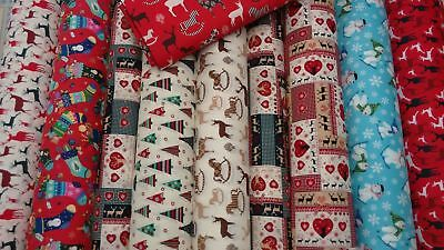 Christmas Festive 100% Cotton Fabric 135cm Wide Sold By The Metre • 7.99£