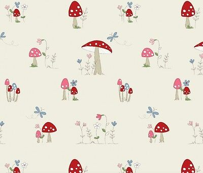 Fryetts TOADSTOOLS Cotton PVC Fabric WIPE CLEAN Tablecloth Oilcloth • 12.99£