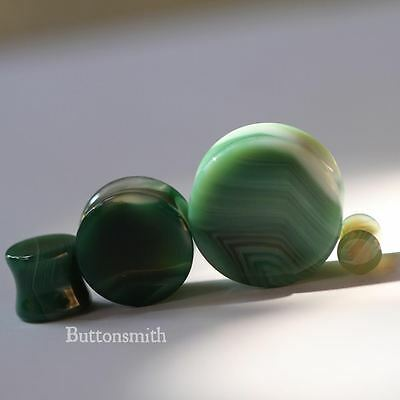 $10.25 • Buy Pair Of Green  Agate Organic Stone Plugs Double Flared Gauges - 00G - 1  -10size